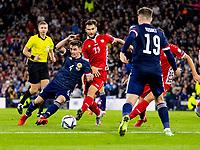 4th September 2021; Hampden Park, Glasgow, Scotland: FIFA World Cup 2022 qualification football, Scotland versus Moldova: Billy Gilmour of Scotland and Radu Ginsari of Moldova compete for possession of the ball
