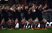 The All Blacks perform the haka during the Bledisloe Cup rugby match between the New Zealand All Blacks and Australia Wallabies at Eden Park in Auckland, New Zealand on Saturday, 7 August 2021. Photo: Dave Lintott / lintottphoto.co.nz