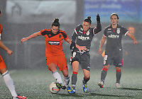 20131017 - GLASGOW , SCOTLAND :  Standard's Audrey Demoustier (right) pictured in a duel with Glasgow's  Joanne Love (left) during the female soccer match between GLASGOW City Ladies FC and STANDARD Femina de Liege , in the 1/16 final ( round of 32 ) second leg in the UEFA Women's Champions League 2013 in Petershill Park in Glasgow. First leg ended in a 2-2 draw . Thursday 17 October 2013. PHOTO DAVID CATRY
