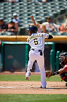 Michael Hermosillo (6) of the Salt Lake Bees bats against the Albuquerque Isotopes at Smith's Ballpark on April 22, 2018 in Salt Lake City, Utah. The Bees defeated the Isotopes 11-9. (Stephen Smith/Four Seam Images)