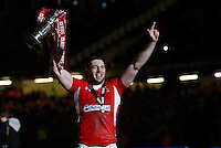 Photo: Richard Lane/Richard Lane Photography. Wales v England. RBS 6 Nations Championship. 16/03/2013. Wales' Alex Cuthbert celebrates with the trophy.