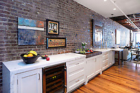 Brick wall in the kitchen
