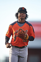 AZL Giants Orange third baseman Luis Toribio (22) jogs off the field between innings of an Arizona League game against the AZL Cubs 1 on July 10, 2019 at Sloan Park in Mesa, Arizona. The AZL Giants Orange defeated the AZL Cubs 1 13-8. (Zachary Lucy/Four Seam Images)