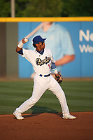 Jorbit Vivas(14) of the Rancho Cucamonga Quakes throws to first base during a game against the Modesto Nuts at LoanMart Field on May 12, 2021 in Rancho Cucamonga, California. (Larry Goren/Four Seam Images)