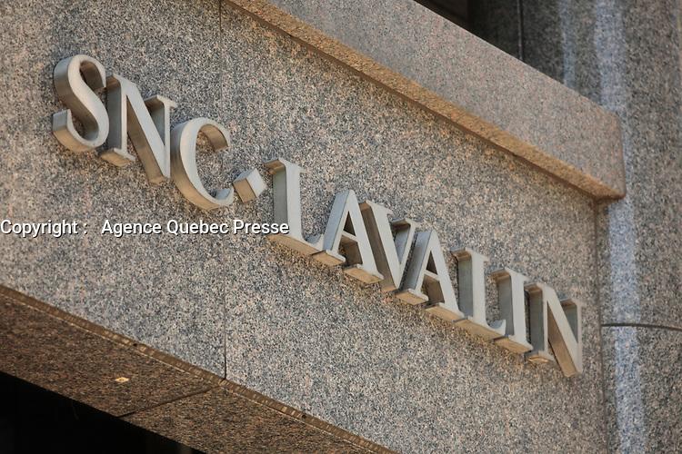 Montreal (Qc) CANADA - Mai 24 2012 - SNC Lavalin logo on the Montreal headquarter