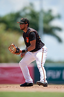GCL Orioles first baseman Josue Herrera (24) during a Gulf Coast League game against the GCL Red Sox on July 29, 2019 at Ed Smith Stadium in Sarasota, Florida.  GCL Red Sox defeated the GCL Pirates 9-1.  (Mike Janes/Four Seam Images)