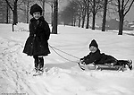 Pittsburgh:  Brady Jr and Helen Stewart playing in the park after a big snow.