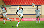 Paddy Jackson kicks three points for Ulster..Celtic League.Scarlets v Ulster.Parc y Scarlets.02.12.12..©Steve Pope