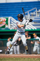 West Virginia Black Bears center fielder Travis Swaggerty (13) at bat during a game against the Batavia Muckdogs on July 1, 2018 at Dwyer Stadium in Batavia, New York.  Batavia defeated West Virginia 8-4.  (Mike Janes/Four Seam Images)