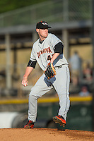 Delmarva Shorebirds starting pitcher Michael Costello (43) in action against the Hickory Crawdads at L.P. Frans Stadium on June 18, 2016 in Hickory, North Carolina.  The Shorebirds defeated the Crawdads 4-2 in game two of a double-header.  (Brian Westerholt/Four Seam Images)