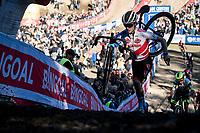 European Champion and World Cup Series leader Eli Iserbyt (BEL/Pauwels Sauzen - Bingoal) coming out of the infamous Zonhoven 'Pit'<br /> <br /> Elite Men's Race<br /> 2021 UCI cyclo-cross World Cup - Zonhoven (BEL)<br /> <br /> ©kramon
