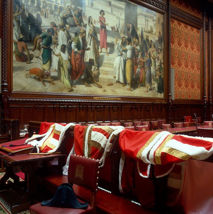 Robes are laid out in the Moses Room before an introduction ceremony