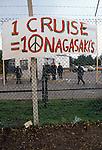 Blockade of USAF nuclear cruise missile air base at Greenham Common Berkshire England 1983