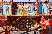Sicilian folk art on a wooden cart