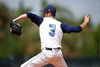 Lasell Lasers relief pitcher Hector Coscione (3) delivers a pitch during the first game of a doubleheader against the Edgewood Eagles on March 14, 2016 at Terry Park in Fort Myers, Florida.  Edgewood defeated Lasell 10-2.  (Mike Janes/Four Seam Images)