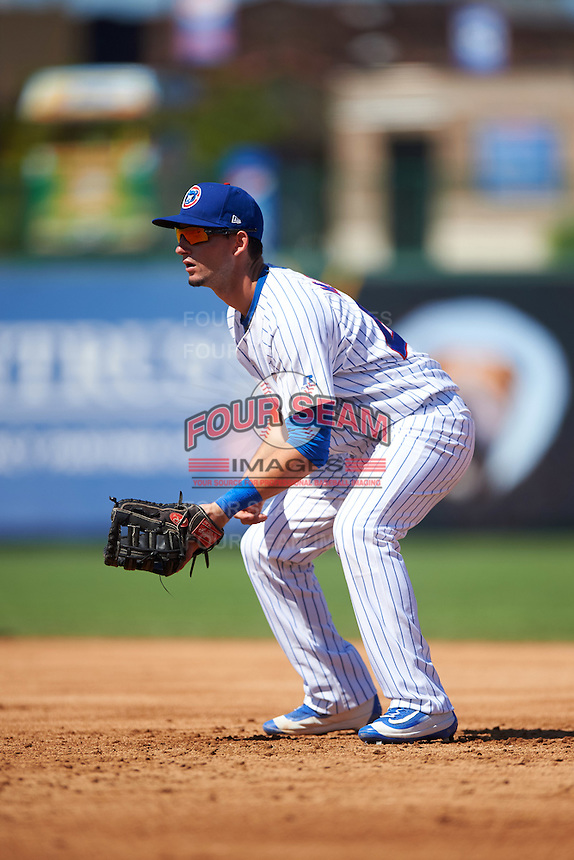 South Bend Cubs first baseman Alberto Mineo (47) during the second game of a doubleheader against the Peoria Chiefs on July 25, 2016 at Four Winds Field in South Bend, Indiana.  South Bend defeated Peoria 9-2.  (Mike Janes/Four Seam Images)