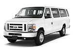 Front three quarter view of a 2013 Ford E350 Passenger Van.