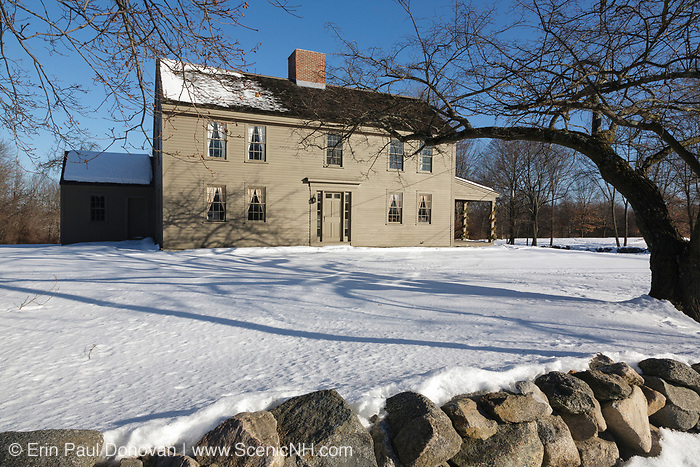 """Samuel Brooks House (circa 1692-1750) along the Battle Road Trail at Minute Man National Historical Park in Concord, Massachusetts during the winter months. The Samuel Brooks House is one of eleven houses within the park that was standing when the Battles of Lexington and Concord took place on April 19, 1775 (beginning of the American Revolutionary War). And because of this, the National Park Service refers to this house as a """"witness house""""."""