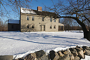 "Samuel Brooks House (circa 1692-1750) along the Battle Road Trail at Minute Man National Historical Park in Concord, Massachusetts during the winter months. The Samuel Brooks House is one of eleven houses within the park that was standing when the Battles of Lexington and Concord took place on April 19, 1775 (beginning of the American Revolutionary War). And because of this, the National Park Service refers to this house as a ""witness house""."
