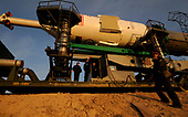 The Soyuz TMA-13 spacecraft is transported by railcar to its launch pad at the Baikonur Cosmodrome in Kazakhstan, Friday, Oct. 10, 2008 for launch Oct. 12 to carry Expedition 18 Commander Michael Fincke, Flight Engineer Yury V. Lonchakov and American Spaceflight Participant Richard Garriott to the International Space Station. The three crew members will dock their Soyuz to the International Space Station on Oct. 14. Fincke and Lonchakov will spend six months on the station, while Garriott will return to Earth Oct. 24, 2008 with two of the Expedition 17 crew members currently on the International Space Station.  <br /> Mandatory Credit: Bill Ingalls / NASA via CNP