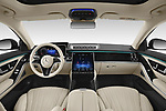 Stock photo of straight dashboard view of 2021 Mercedes Benz S-Class S-350 4 Door Sedan Dashboard