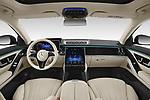 Stock photo of straight dashboard view of 2021 Mercedes Benz S-Class S-350 4 Door Sedan Dashboard