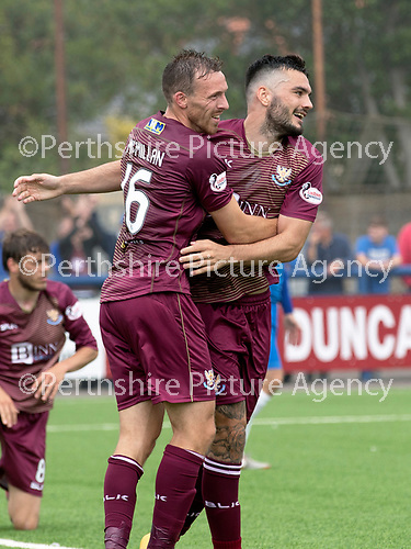 Montrose v St Johnstone…21.07.18…  Links Park    League Cup<br />Tony Watt celebrates his goal with David McMillan<br />Picture by Graeme Hart. <br />Copyright Perthshire Picture Agency<br />Tel: 01738 623350  Mobile: 07990 594431