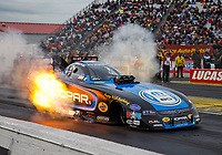 Sep 1, 2017; Clermont, IN, USA; NHRA funny car driver Matt Hagan during qualifying for the US Nationals at Lucas Oil Raceway. Mandatory Credit: Mark J. Rebilas-USA TODAY Sports