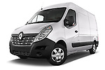 Stock pictures of low aggressive front three quarter view of a 2015 Renault MASTER GRAND CONFORT 4 Door Cargo Van Low Aggressive