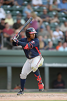 Center fielder Justin Dean (5) of the Rome Braves bats bats in a game against the Greenville Drive on Friday, June 28, 2019, at Fluor Field at the West End in Greenville, South Carolina. Rome won, 4-3. (Tom Priddy/Four Seam Images)