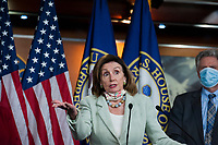 House Speaker Nancy Pelosi (D-Calif) holds a press conference on the Trump Administration's response to, and House Democrats' plan for COVID-19 testing in the House Visitors Center Studio at the U.S. Capitol in Washington, DC, Wednesday, May 27, 2020. Credit: Rod Lamkey / CNP/AdMedia
