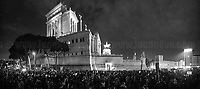 """(This photo is an artificial stitch of 4 frames together. It can contain photographic mistakes, and it is part of this story to give the audience an idea of the number of people attending the event).<br /> <br /> Rome, 08/03/2019. Today, """"NonUnaDiMeno"""" (Not One Woman Less) held the """"transfeminist global strike"""" (8 Marzo Sciopero Globale Transfemminista #NoiScioperiamo) in Central Rome. The massive demonstration saw tens of thousands of people 50,000+ for the organisers) marching peacefully (and loudly from Piazza Vittorio Emanuele II to the Fori Imperiali. The Protest - which marked the International Women's Day 2019 - was organised contemporary in several squares across Italy (and in more than 70 Countries across the world) and held while Italy was hit by a Workers' Strike. The aim of the demo was to be in support and solidarity with all the women, against the Pillon Law (DDL N. 735 made by League/Lega Senator Simone Pillon, https://bit.ly/2z4zD4g) about families and all the policies of the FiveStar-League (Movimento 5 Stelle – Lega) coalition Government, labelled as """"patriarchal, authoritarian and racist, a proper war against women, migrants and lgbt*qia+"""", demanding the end to male and gender-based violence against women and the feminicides, fighting for the living wage for all women, supporting abortion's rights (via protecting the Legge 194 – Law 194 - Source Wikipedia.org - https://bit.ly/2TEbdKp) and self-determination, and to end all forms of gender discrimination and against women.<br /> <br /> For more info please click here: https://bit.ly/2u0fAkG & https://nonunadimeno.wordpress.com/<br /> <br /> For a video of the event by la Repubblica.it on Facebook click here: https://bit.ly/2EZ3wGK<br /> <br /> For the previous demos I covered related to the same topic in Italy please click here: https://bit.ly/2FEtKiF & http://bit.ly/2FGiLp5 & http://bit.ly/2p1vwjS & https://bit.ly/2INyfKm & https://bit.ly/2uZm4Ul & https://bit.ly/2FGsnRZ & https://bit.ly/2Ham60Q"""