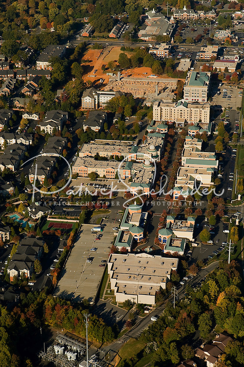 Aerial view of Charlotte's Phillips Place mall, one of the city's first mixed-use developments.