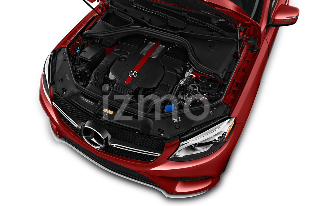 Car Stock 2016 Mercedes Benz GLE-Class-Coupe GLE450-AMG 5 Door SUV Engine  high angle detail view