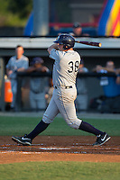 Bobby Melley (38) of the Princeton Rays follows through on his swing against the Burlington Royals at Burlington Athletic Stadium on June 24, 2016 in Burlington, North Carolina.  The Rays defeated the Royals 16-2.  (Brian Westerholt/Four Seam Images)