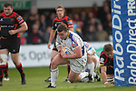 Jack McGrath dives over to score the first try of the match for Leinster..RaboDirect Pro 12.Newport Gwent Dragons v Leinster..05.05.12.©Steve Pope-Sportingwales