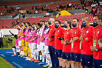 , MEXICO - : U-23 USMNT during the National anthem during a game between  and undefined at  on ,  in , Mexico.