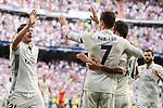 Real Madrid's Cristiano Ronaldo, James Rodriguez and Alvaro Morata celebrating a goal during La Liga match between Real Madrid and Sevilla FC at Santiago Bernabeu Stadium in Madrid, May 14, 2017. Spain.<br /> (ALTERPHOTOS/BorjaB.Hojas)