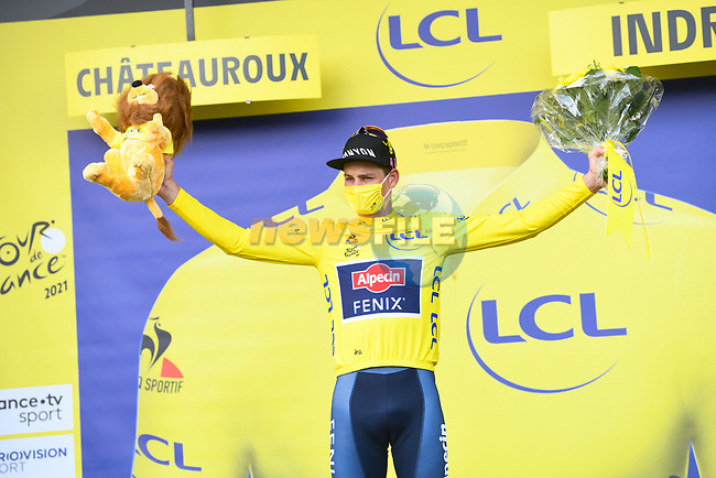 Race leader Mathieu Van Der Poel (NED) Alpecin-Fenix retains the Yellow Jersey at the end of Stage 6 of the 2021 Tour de France, running 160.6km from Tours to Chateauroux, France. 1st July 2021.  <br /> Picture: A.S.O./Charly Lopez   Cyclefile<br /> <br /> All photos usage must carry mandatory copyright credit (© Cyclefile   A.S.O./Charly Lopez)