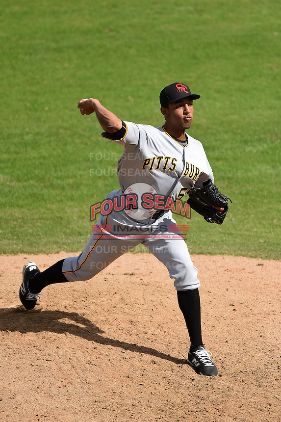 Scottsdale Scorpions pitcher Angel Sanchez (55) during an Arizona Fall League game against the Peoria Javelinas on October 18, 2014 at Surprise Stadium in Surprise, Arizona.  Peoria defeated Scottsdale 4-3.  (Mike Janes/Four Seam Images)