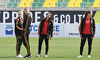 20190227 - LARNACA , CYPRUS :  Belgian Elena Dhont , Marie Minnaert , Jody Vangheluwe and Lenie Onzia (r) pictured during a women's soccer game between the Belgian Red Flames and Slovakia , on Wednesday 27 February 2019 at the AEK Arena in Larnaca , Cyprus . This is the first game in group C for Belgium during the Cyprus Womens Cup 2019 , a prestigious women soccer tournament as a preparation on the Uefa Women's Euro 2021 qualification duels. PHOTO SPORTPIX.BE | DAVID CATRY