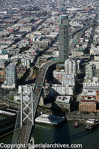 aerial photograph One Rincon Hill Bay Bridge San Francisco, California