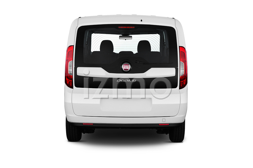 Straight rear view of a 2018 Fiat Doblo Street 5 Door MPV stock images