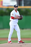 Peoria Chiefs pitcher Rob Kaminsky (33) delivers a pitch during a game against the Kane County Cougars on June 2, 2014 at Dozer Park in Peoria, Illinois.  Peoria defeated Kane County 5-3.  (Mike Janes/Four Seam Images)