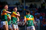 David Clifford, Kerry and Paul Geaney celebrate with Brian Ó Beaglaoich, after he scored Kerry's first goal during the Munster GAA Football Senior Championship Final match between Kerry and Cork at Fitzgerald Stadium in Killarney on Sunday.