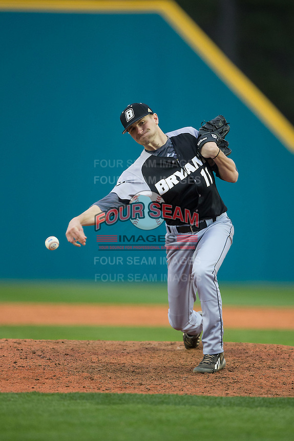 Bryant Bulldogs relief pitcher Alex Lagos (11) delivers a pitch to the plate against the Coastal Carolina Chanticleers at Springs Brooks Stadium on March 13, 2015 in Charlotte, North Carolina.  The Chanticleers defeated the Bulldogs 7-2.  (Brian Westerholt/Four Seam Images)