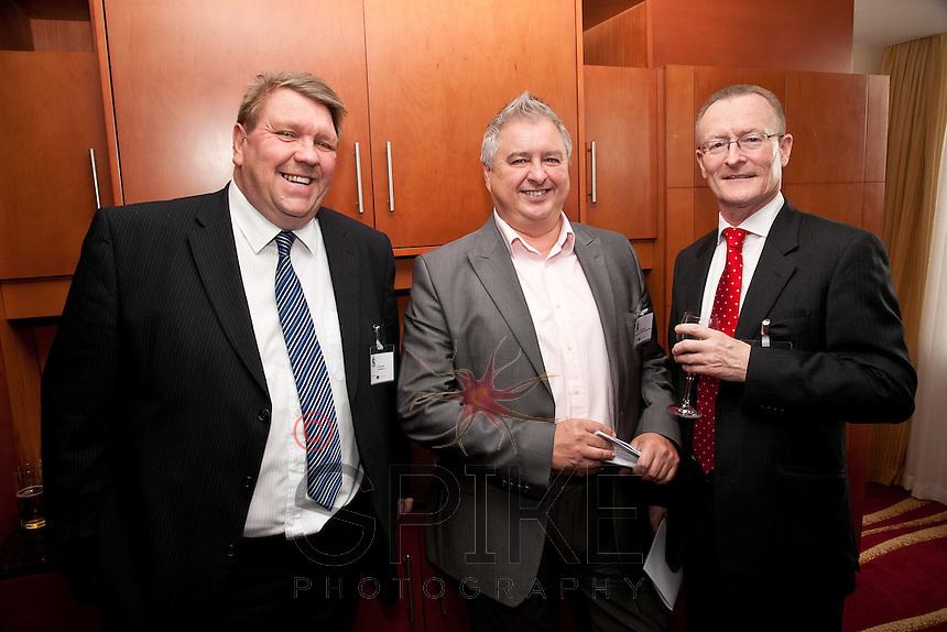 All smiles: from left Kevin Bishop of KB Enterprises, Barry Cockburn of Sherwood Place Wealth Management and Mark Dyer of GET Management