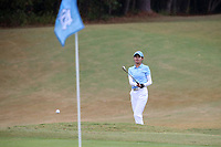 CHAPEL HILL, NC - OCTOBER 13: Jennifer Zhou of the University of North Carolina hits an approach shot at UNC Finley Golf Course on October 13, 2019 in Chapel Hill, North Carolina.