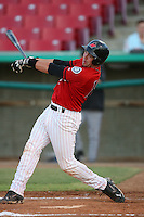 July 30 2008: Travis Scott of the High Desert Mavericks bats against the Lake Elsinore Storm at Mavericks Stadium in Adelanto,CA.  Photo by Larry Goren/Four Seam Images