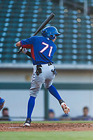 AZL Rangers second baseman Jayce Easley (71) at bat during an Arizona League playoff game against the AZL Cubs 1 at Sloan Park on August 29, 2018 in Mesa, Arizona. The AZL Cubs 1 defeated the AZL Rangers 8-7. (Zachary Lucy/Four Seam Images)